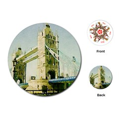 Watercolors, London Tower Bridge Playing Cards (round)