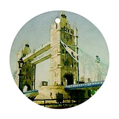 Watercolors, London Tower Bridge Round Ornament (Two Sides)