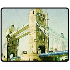 Watercolors, London Tower Bridge Fleece Blanket (medium)