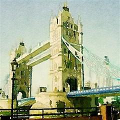 Watercolors, London Tower Bridge Magic Photo Cubes