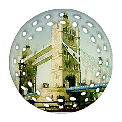 Watercolors, London Tower Bridge Ornament (round Filigree)