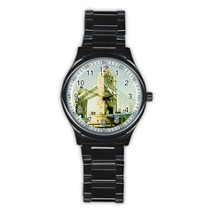 Watercolors, London Tower Bridge Stainless Steel Round Watches