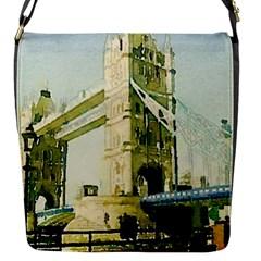 Watercolors, London Tower Bridge Flap Messenger Bag (S)