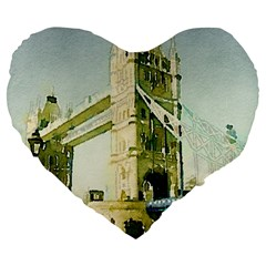 Watercolors, London Tower Bridge Large 19  Premium Flano Heart Shape Cushions