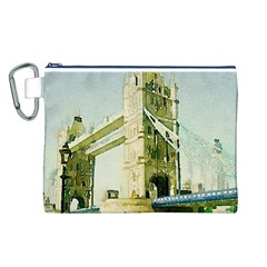 Watercolors, London Tower Bridge Canvas Cosmetic Bag (L)