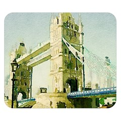 Watercolors, London Tower Bridge Double Sided Flano Blanket (small)