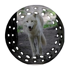 White Wolf Round Filigree Ornament (2Side)