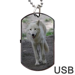 White Wolf Dog Tag USB Flash (Two Sides)