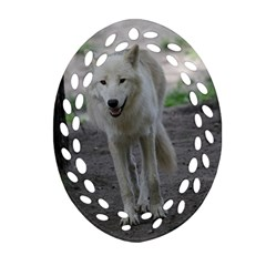 White Wolf Oval Filigree Ornament (2 Side)