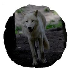 White Wolf Large 18  Premium Round Cushions