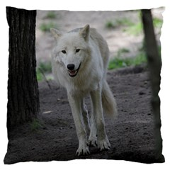 White Wolf Large Flano Cushion Cases (One Side)