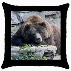 Tired Bear Throw Pillow Cases (Black)