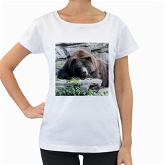 Tired Bear Women s Loose Fit T Shirt (white)