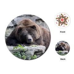 Tired Bear Playing Cards (Round)