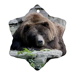 Tired Bear Ornament (Snowflake)