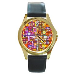 Circles City Round Gold Metal Watches