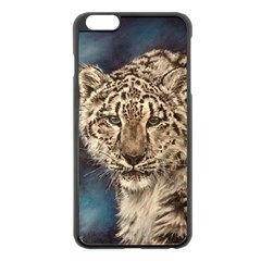 Snow Leopard Apple iPhone 6 Plus/6S Plus Black Enamel Case