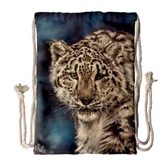 Snow Leopard Drawstring Bag (Large)