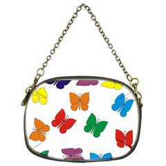 Butterflies Rainbow Colored Chain Purses (Two Sides)
