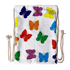 Butterflies Rainbow Colored Drawstring Bag (Large)
