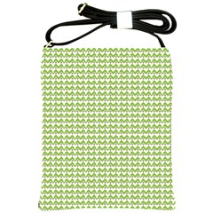 Green and White fishbone chevron zig zag Shoulder Sling Bags