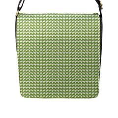 Green and White fishbone chevron zig zag Flap Messenger Bag (L)