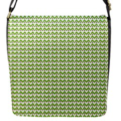 Green and White fishbone chevron zig zag Flap Messenger Bag (S)