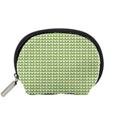 Green and White fishbone chevron zig zag Accessory Pouches (Small)