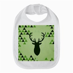 Modern Geometric Black And Green Christmas Deer Bib