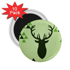 Modern Geometric Black And Green Christmas Deer 2.25  Magnets (10 pack)