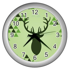 Modern Geometric Black And Green Christmas Deer Wall Clocks (Silver)