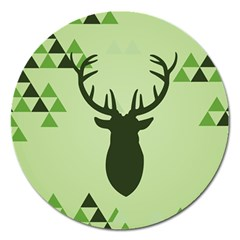 Modern Geometric Black And Green Christmas Deer Magnet 5  (round)