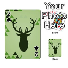 Modern Geometric Black And Green Christmas Deer Playing Cards 54 Designs