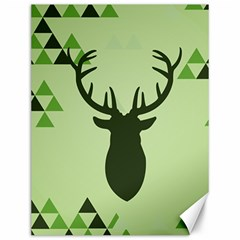 Modern Geometric Black And Green Christmas Deer Canvas 12  x 16