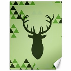 Modern Geometric Black And Green Christmas Deer Canvas 36  x 48