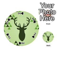 Modern Geometric Black And Green Christmas Deer Playing Cards 54 (Round)