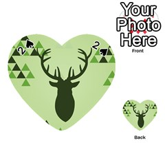 Modern Geometric Black And Green Christmas Deer Playing Cards 54 (Heart)