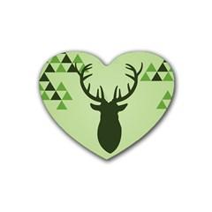 Modern Geometric Black And Green Christmas Deer Rubber Coaster (Heart)