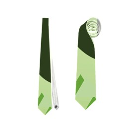 Modern Geometric Black And Green Christmas Deer Neckties (One Side)