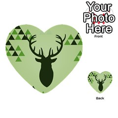 Modern Geometric Black And Green Christmas Deer Multi Purpose Cards (heart)