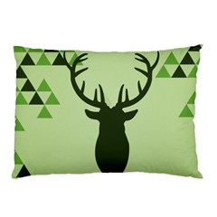 Modern Geometric Black And Green Christmas Deer Pillow Cases