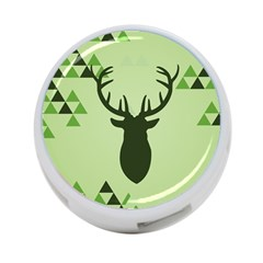 Modern Geometric Black And Green Christmas Deer 4-Port USB Hub (Two Sides)