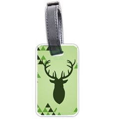 Modern Geometric Black And Green Christmas Deer Luggage Tags (Two Sides)