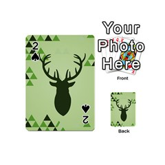 Modern Geometric Black And Green Christmas Deer Playing Cards 54 (Mini)