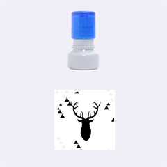 Modern Geometric Black And Green Christmas Deer Rubber Round Stamps (Small)
