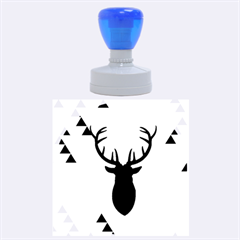 Modern Geometric Black And Green Christmas Deer Rubber Round Stamps (Large)