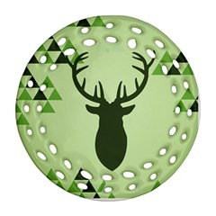 Modern Geometric Black And Green Christmas Deer Ornament (Round Filigree)