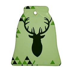 Modern Geometric Black And Green Christmas Deer Ornament (Bell)
