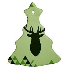 Modern Geometric Black And Green Christmas Deer Christmas Tree Ornament (2 Sides)