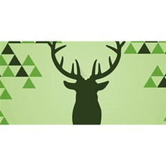 Modern Geometric Black And Green Christmas Deer You Are Invited 3d Greeting Card (8x4)